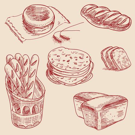 produits céréaliers: Produits de boulangerie dessiné à la main esquisse différents types de pain. Illustration