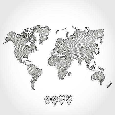 Entregue o esboço desenhado doodle mapa do mundo político e geo ponteiros pinos tag marcador ilustração vetorial. Ilustração