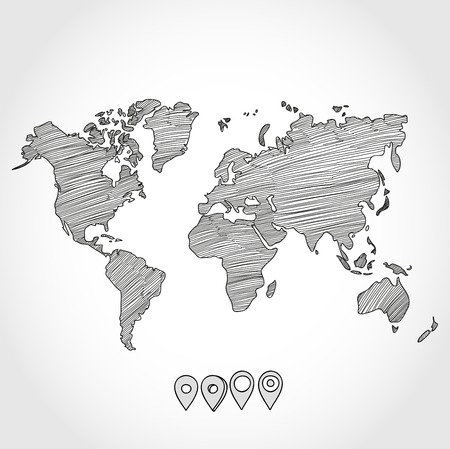 Hand drawn doodle sketch political world map and geo tag pin pointers marker vector illustration. Иллюстрация