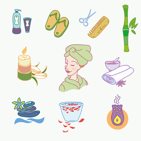 medical shower: Spa doodle hand drawn sketch  icons set with  towels aroma candles  vector illustration.