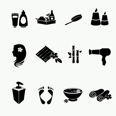 beauty therapist: Spa doodle hand drawn sketch black icons set with  towels aroma candles  vector illustration.