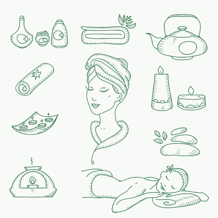 Spa doodle hand drawn sketch  icons set with  towels aroma candles beauty, health care, cosmetics, spa and wellness vector illustration.