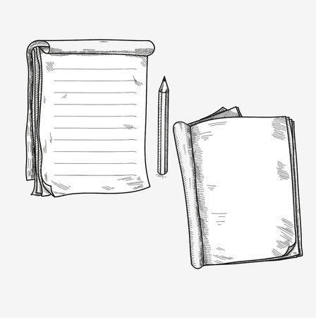 손으로 그린 낙서 스케치 오픈 노트북, 맑은 페이지, 메모 메모주의 만화 스크랩북 스케치북 교과서에 대한 템플릿입니다. 일러스트