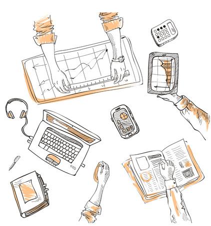 bovenaanzicht mens: Teamwork, bovenaanzicht mensen handen schets hand getrokken doodle kantoor werkplek met het bedrijfsleven voorwerpen en artikelen die op een bureau laptop, digitale tablet, mobiele telefoon.