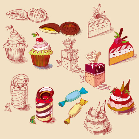 fruitcakes: hand drawn confections dessert pastry bakery products cupcake cookie muffin. Illustration
