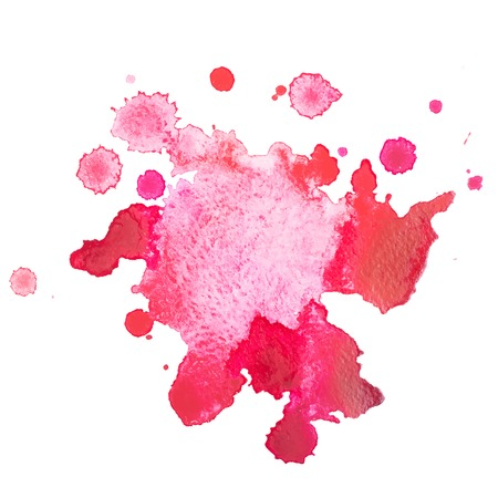 paint drop: Abstract watercolor aquarelle hand drawn red drop splatter stain art paint on white background Vector illustration.
