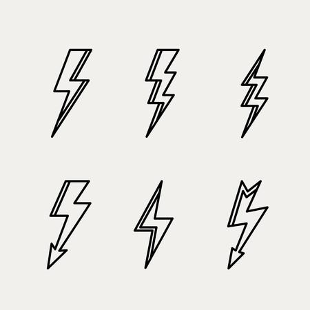 稲妻アイコン最小限の線形輪郭アウトライン スタイル ベクトル イラスト。
