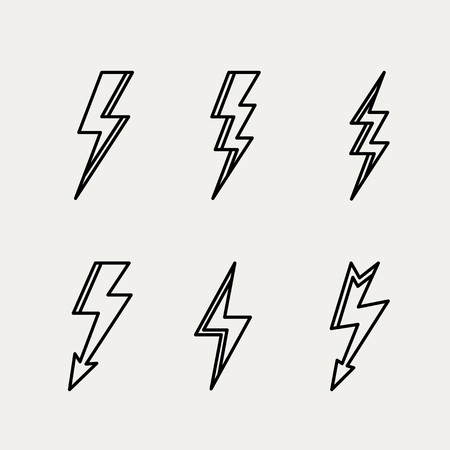 Lightning icon minimal linear contour outline style vector illustration. Vector