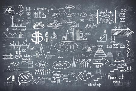 黒板黒板テクスチャ インフォ グラフィック コレクション手描き落書きは、マクロデータ金融のビジネス要素をスケッチします。