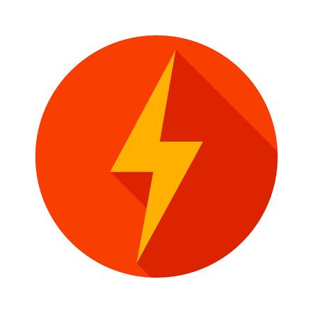 thunder: Lightning icon flat design long shadows vector illustration.