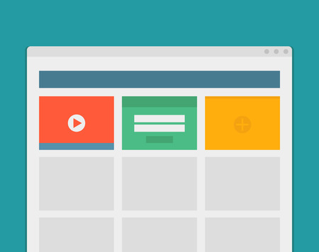 website window: Simple browser window create website on blue background. Illustration