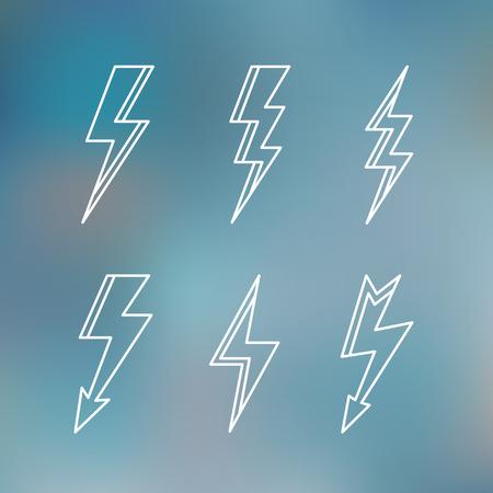 lightning bolt: Lightning icon minimal linear contour outline style blurred background vector illustration. Illustration