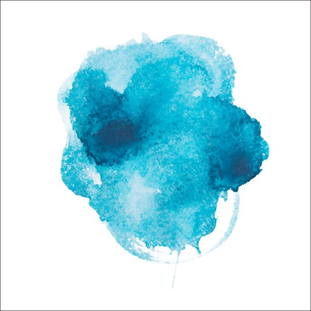 paint spill: Abstract watercolor aquarelle hand drawn blue art paint on white background Vector illustration. Illustration