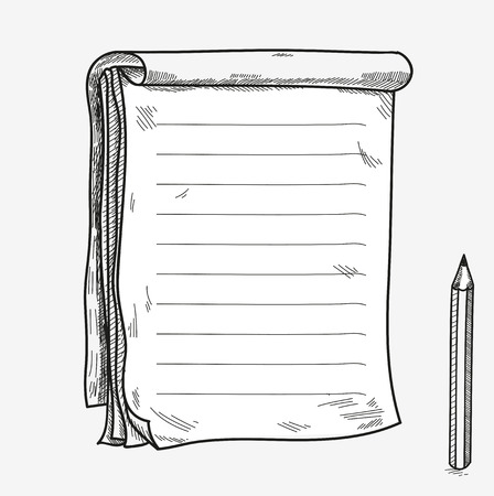 memo pad: Hand drawn doodle sketch open notebook, clear page, template for notes memo notice comic book scrapbook sketchbook textbook with pencil.
