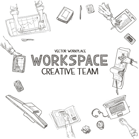 Teamwork, top view people hands sketch hand drawn doodle office workplace with business objects and items lying on a desk laptop, digital tablet, mobile phone.