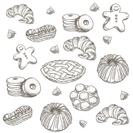 croissants: hand drawn sketch confections dessert pastry bakery products donut, pie, croissant, cookie.