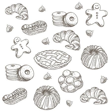 hand getekende schets snoepgoed dessert gebak bakkerijproducten donut, taart, croissant, koekje.