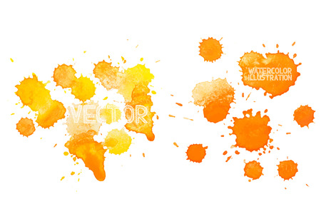 paint drop: colorful abstract hand drawn watercolour aquarelle yellow orange art drop splatter stain paint on white background.
