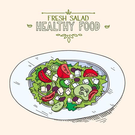 preparing: Natural fresh mixed Greek salad with sliced vegetables in dish organic healthy food.