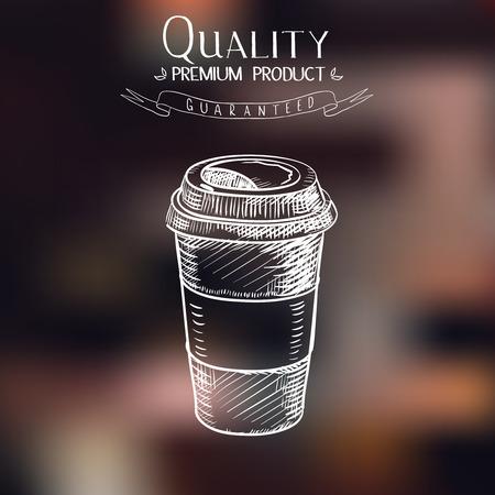 Entregue o esboço desenhado doodle do papel do vintage xícara de café para viagem menu restaurante, café, bar, cafetaria.