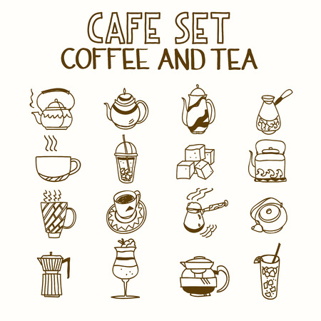 turk: Cafe doodle set coffee and tea Morning breakfast lunch or dinner kitchen hand drawn sketch rough simple icons.