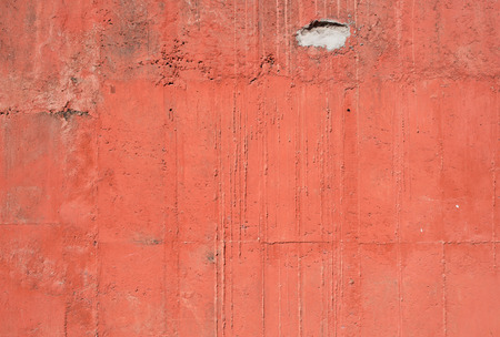 surface aged: Red old vintage aged cement street rusty grunge rough wall surface background