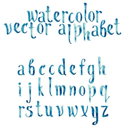 Colorful watercolor aquarelle font type handwritten hand drawn doodle abc alphabet letters vector. Vettoriali