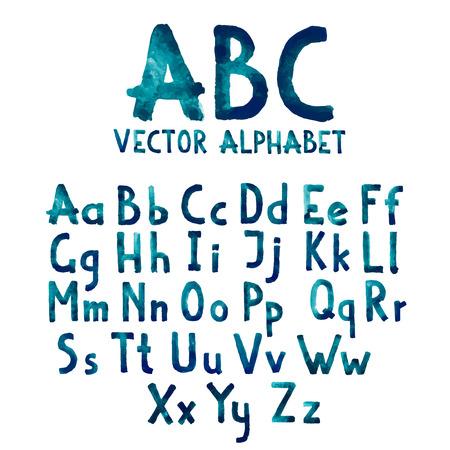 Colorful acquerello acquerello tipo di font a mano, scritto a mano di doodle disegnati alfabeto lettere maiuscole e minuscole vettoriale.