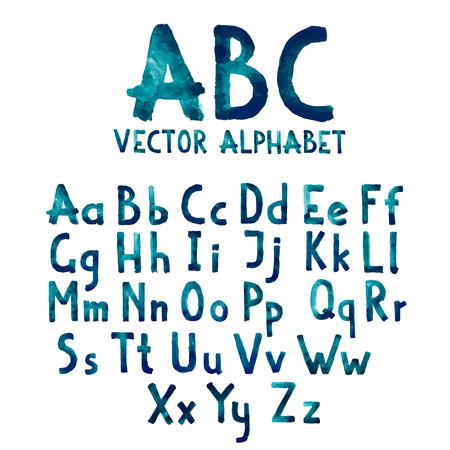 abecedario: Colorida acuarela acuarela tipo de letra manuscrita del doodle dibujado mano las letras del alfabeto abc may�sculas y min�sculas vector. Vectores