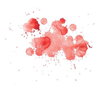 blood splatter: Abstract watercolor aquarelle hand drawn colorful shapes art red color paint or blood splatter stain.