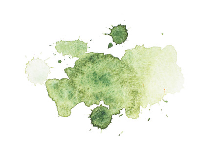 추상 녹색 수채화 aquarelle 손으로 그린 화려한 아트 페인트 튄 얼룩 흰색 배경에 스톡 콘텐츠