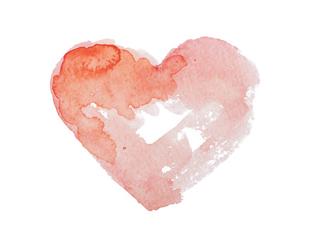 blood splatter: Watercolor aquarelle hand drawn colorful red heart art color paint or blood splatter stain.