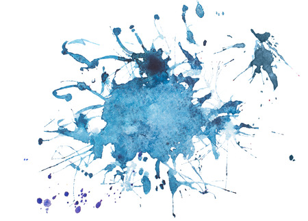Abstract watercolor aquarelle hand drawn colorful blue art paint splatter stain on white background