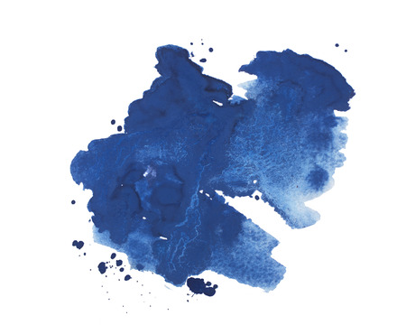 aquarelle: Abstract watercolor aquarelle hand drawn colorful blue art paint splatter stain on white background