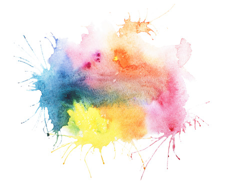 spilled paint: Abstract watercolor aquarelle hand drawn blot colorful yellow orange paint splatter stain.