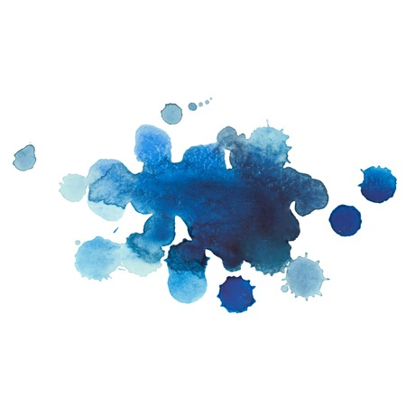 paint drop: Abstract watercolor aquarelle hand drawn blue drop splatter stain art paint on white background Vector illustration.