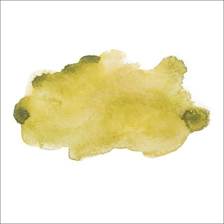 Amarelo colorido abstrato da tração da mão aquarela aquarelle arte mancha splatter da pintura verde no fundo branco ilustração vetorial.