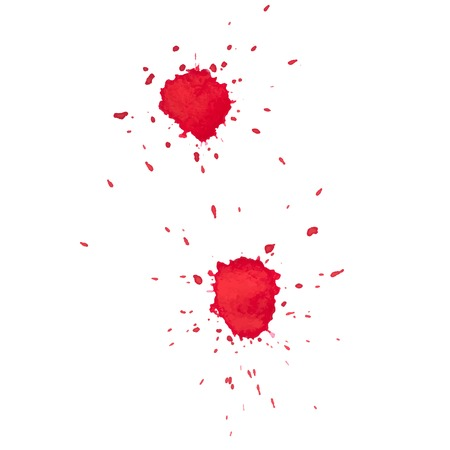 blood smear: Abstract watercolor aquarelle hand drawn red drop splatter stain art paint on white background Vector illustration.