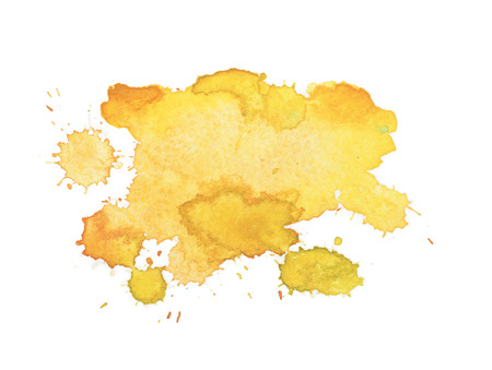 Abstract watercolor aquarelle hand drawn yellow drop splatter stain art paint on white background Vector illustration.