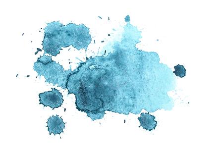 Abstract aquarelle aquarela desenhado mão azul splatter gota da pintura arte mancha no fundo branco ilustração vetorial.