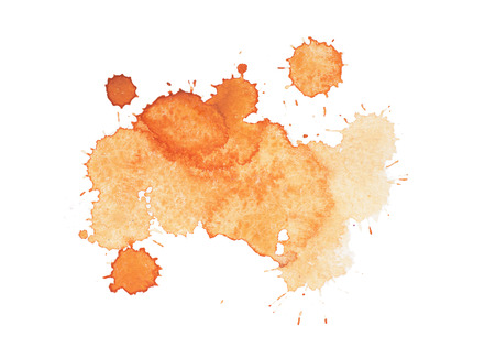 paint drop: Abstract watercolor aquarelle hand drawn yellow drop splatter stain art paint on white background Vector illustration.