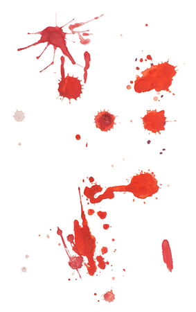 blood smear: Abstract watercolor aquarelle hand drawn red blood drop splatter stain art paint on white background.