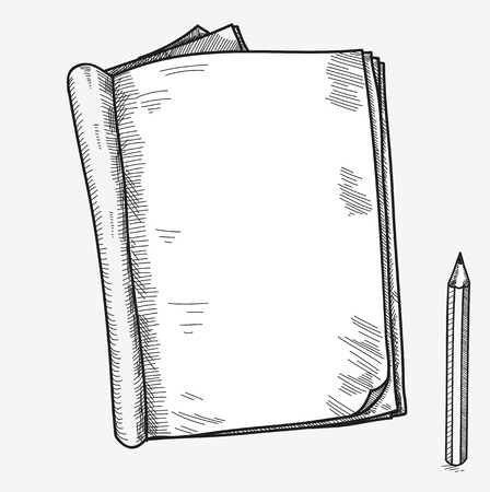 memo: Hand drawn doodle sketch open notebook, clear page, template for notes memo notice comic book scrapbook sketchbook textbook with pencil.