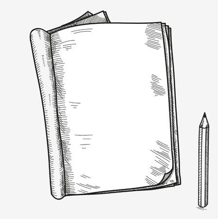 Ručně malovaná doodle skica otevřený notebook, jasný strana, šablona pro noty poznámky všimnete Comic Book zápisníku SketchBook učebnici s tužkou.