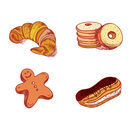 fruitcakes: hand drawn sketch confections dessert pastry bakery products donut, pie, croissant, cookie.
