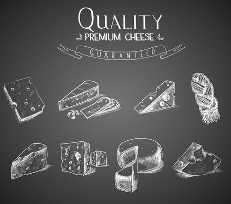 queso: Mano queso bosquejo doodle con diferentes tipos de quesos en estilo retro estilizado.