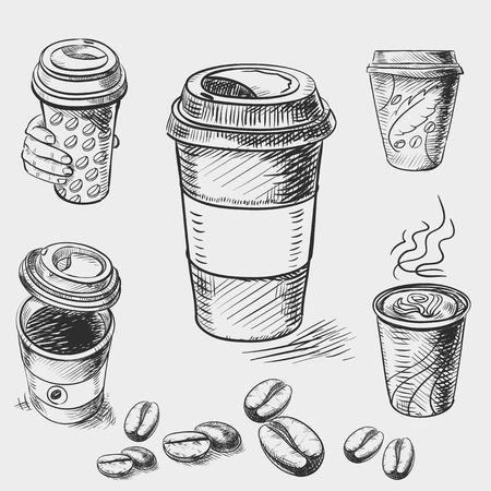 chicchi di caff�: disegnati a mano schizzo scarabocchio carta d'epoca tazza di caff� da asporto Menu per il ristorante, caffetteria, bar, caffetteria. Vettoriali