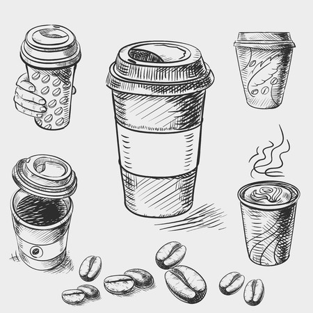 coffee beans: hand drawn doodle sketch vintage paper cup of coffee takeaway Menu for restaurant, cafe, bar, coffeehouse.