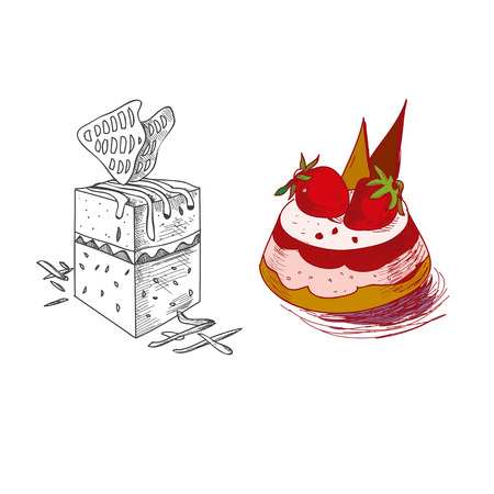 fruitcakes: hand drawn confections dessert pastry bakery products pie cupcake muffin.