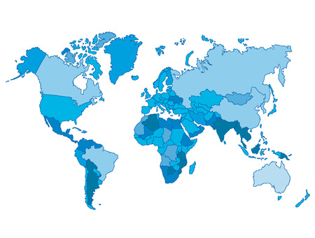 world map blue: Political world blue map and vector illustration.